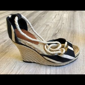 kate spade Shoes - Cute Stripped Kate Spade Lace Up Wedges Size 6